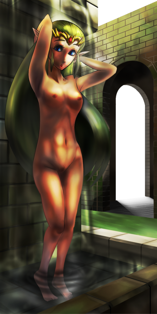 pixel art of time ocarina A sexy naked girl cocooned in a spider's web